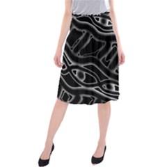 Black and white decorative design Midi Beach Skirt