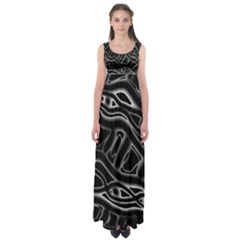 Black and white decorative design Empire Waist Maxi Dress