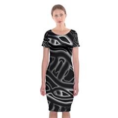 Black and white decorative design Classic Short Sleeve Midi Dress