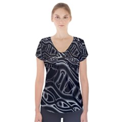 Black and white decorative design Short Sleeve Front Detail Top