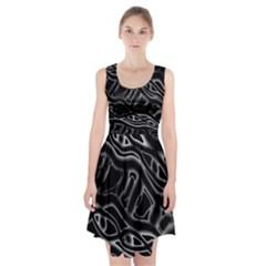 Black and white decorative design Racerback Midi Dress