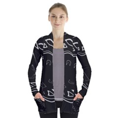 Black and white Women s Open Front Pockets Cardigan(P194)