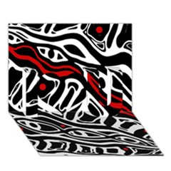 Red, black and white abstract art I Love You 3D Greeting Card (7x5)