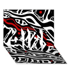 Red, black and white abstract art GIRL 3D Greeting Card (7x5)