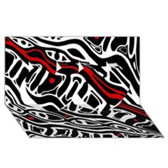 Red, black and white abstract art Twin Hearts 3D Greeting Card (8x4)