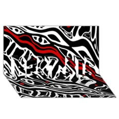 Red, black and white abstract art BEST SIS 3D Greeting Card (8x4)