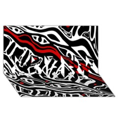 Red, Black And White Abstract Art Sorry 3d Greeting Card (8x4)