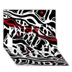 Red, black and white abstract art Miss You 3D Greeting Card (7x5)