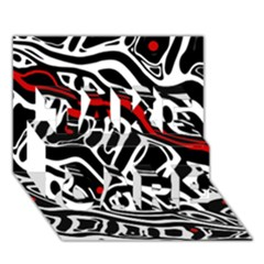Red, black and white abstract art TAKE CARE 3D Greeting Card (7x5)