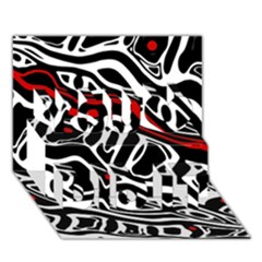 Red, black and white abstract art You Did It 3D Greeting Card (7x5)