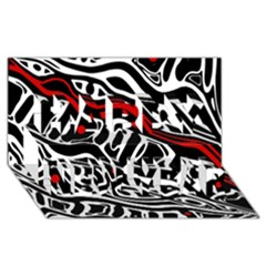 Red, black and white abstract art Happy New Year 3D Greeting Card (8x4)