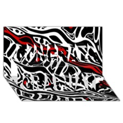 Red, black and white abstract art Congrats Graduate 3D Greeting Card (8x4)