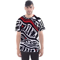 Red, black and white abstract art Men s Sport Mesh Tee