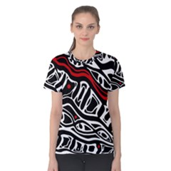 Red, black and white abstract art Women s Cotton Tee