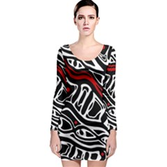 Red, black and white abstract art Long Sleeve Bodycon Dress