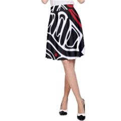 Red, black and white abstract art A-Line Skirt