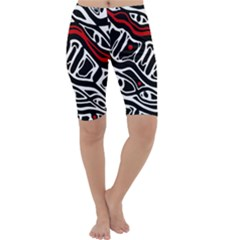 Red, black and white abstract art Cropped Leggings