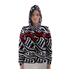 Red, black and white abstract art Hooded Wind Breaker (Women)