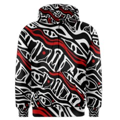 Red, black and white abstract art Men s Zipper Hoodie