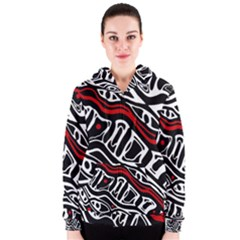 Red, black and white abstract art Women s Zipper Hoodie