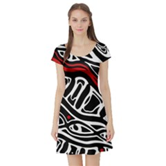 Red, black and white abstract art Short Sleeve Skater Dress