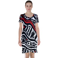 Red, black and white abstract art Short Sleeve Nightdress