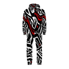 Red, black and white abstract art Hooded Jumpsuit (Kids)