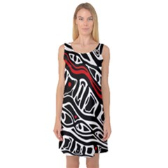 Red, black and white abstract art Sleeveless Satin Nightdress