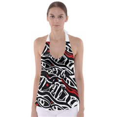 Red, black and white abstract art Babydoll Tankini Top