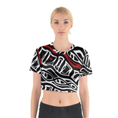 Red, black and white abstract art Cotton Crop Top