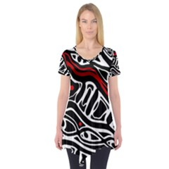 Red, black and white abstract art Short Sleeve Tunic