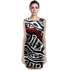 Red, Black And White Abstract Art Classic Sleeveless Midi Dress