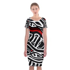 Red, black and white abstract art Classic Short Sleeve Midi Dress