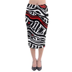 Red, Black And White Abstract Art Midi Pencil Skirt