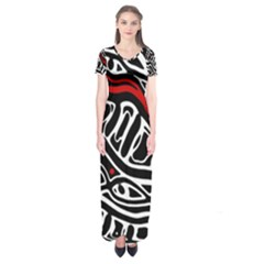 Red, Black And White Abstract Art Short Sleeve Maxi Dress
