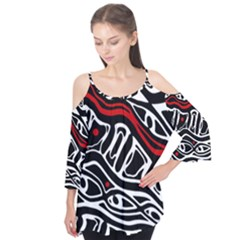 Red, black and white abstract art Flutter Tees