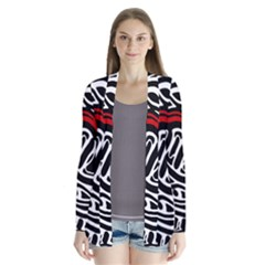 Red, Black And White Abstract Art Drape Collar Cardigan