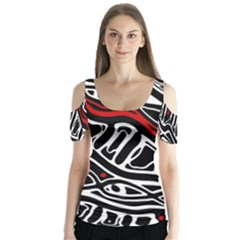 Red, Black And White Abstract Art Butterfly Sleeve Cutout Tee