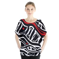 Red, black and white abstract art Blouse