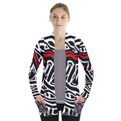 Red, black and white abstract art Women s Open Front Pockets Cardigan(P194)