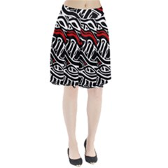 Red, black and white abstract art Pleated Skirt