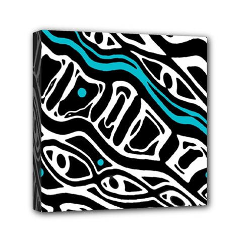 Blue, black and white abstract art Mini Canvas 6  x 6