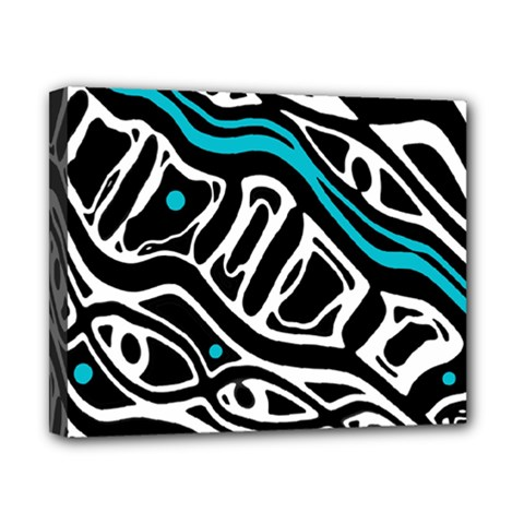 Blue, black and white abstract art Canvas 10  x 8