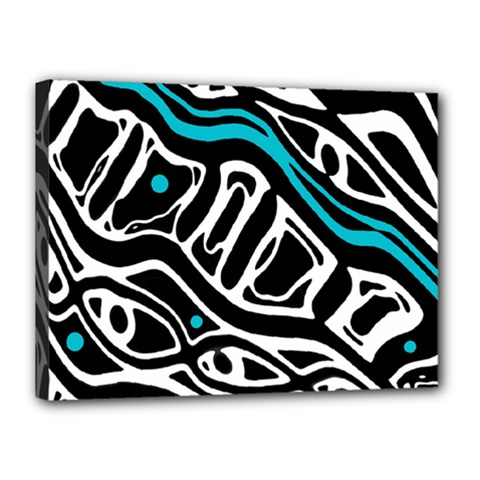 Blue, black and white abstract art Canvas 16  x 12