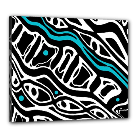 Blue, black and white abstract art Canvas 24  x 20