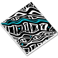 Blue, black and white abstract art Small Memo Pads