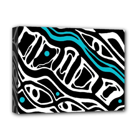 Blue, black and white abstract art Deluxe Canvas 16  x 12