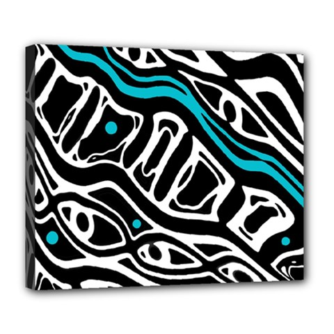 Blue, black and white abstract art Deluxe Canvas 24  x 20