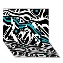 Blue, Black And White Abstract Art Love 3d Greeting Card (7x5)