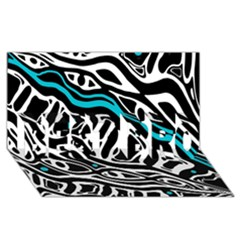 Blue, black and white abstract art BEST BRO 3D Greeting Card (8x4)